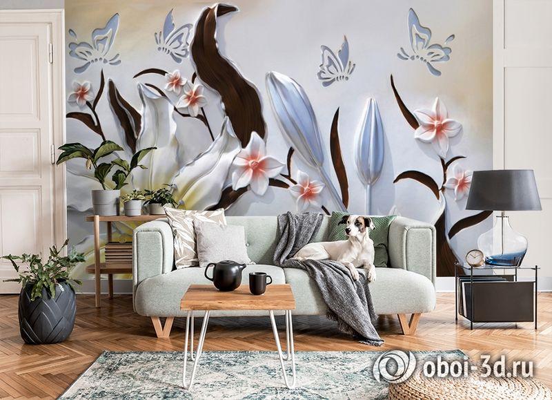 3D Фотообои «Объемные цветы с бабочками» вид 8