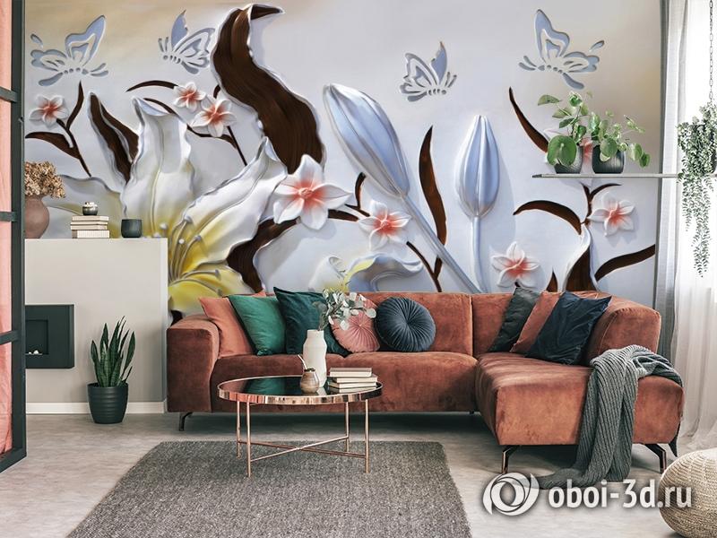 3D Фотообои «Объемные цветы с бабочками» вид 4