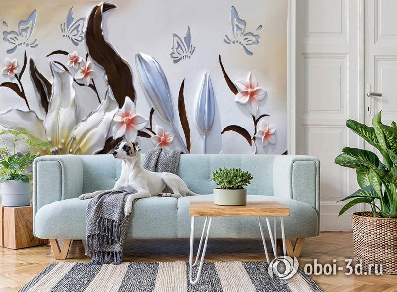 3D Фотообои «Объемные цветы с бабочками» вид 2