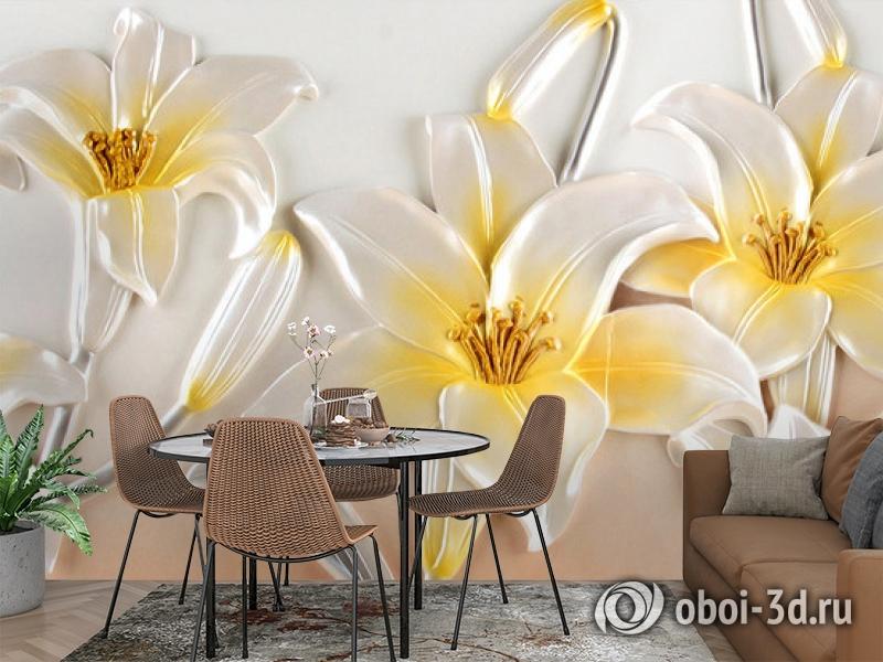 3D Фотообои  «Объемные лилии»  вид 3