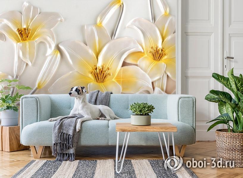 3D Фотообои  «Объемные лилии»  вид 2