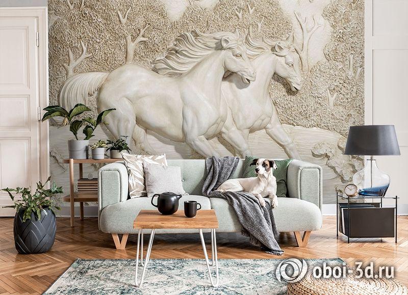 3D Фотообои  «Лошади на рельефном фоне»  вид 8