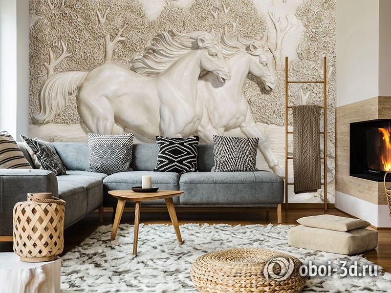 3D Фотообои  «Лошади на рельефном фоне»  вид 7