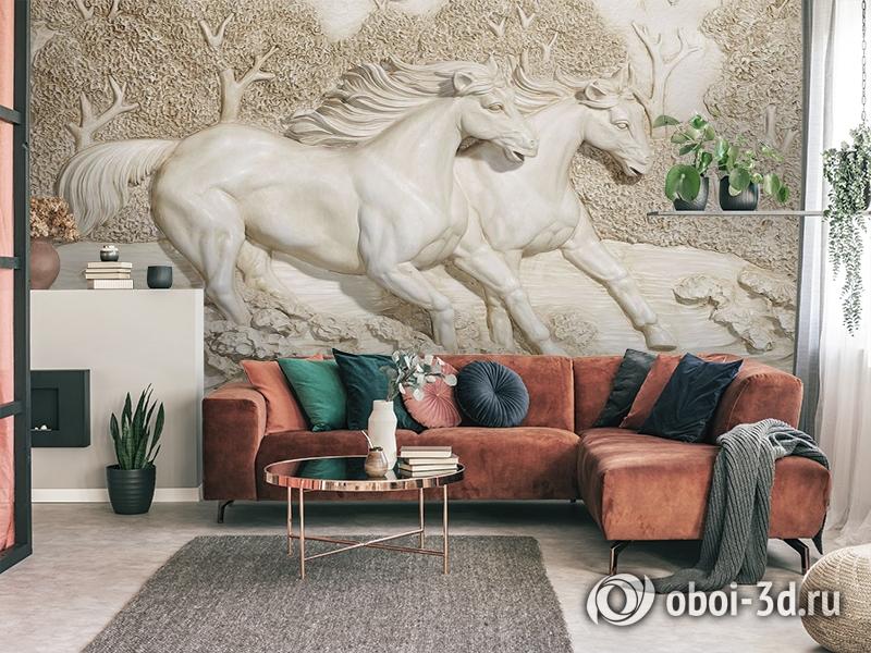 3D Фотообои  «Лошади на рельефном фоне»  вид 4