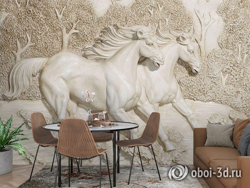 3D Фотообои  «Лошади на рельефном фоне»  вид 3