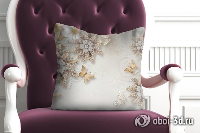 3D фотообои 3D Подушка «Объемные цветы со стразами и бабочками» вид 1