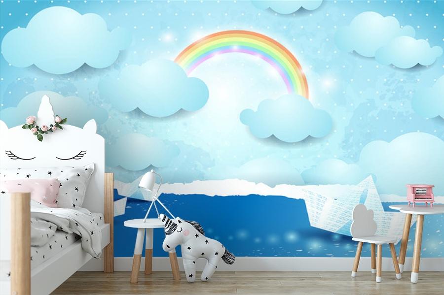 3D Фотообои «Радуга и бумажные кораблики на небе» вид 4