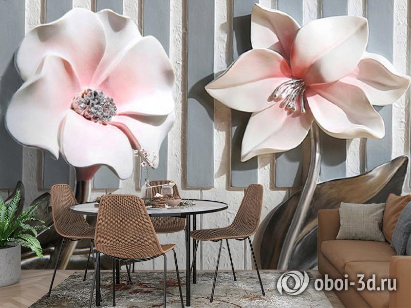 3D Фотообои  «Цветы на клавишах»  вид 3