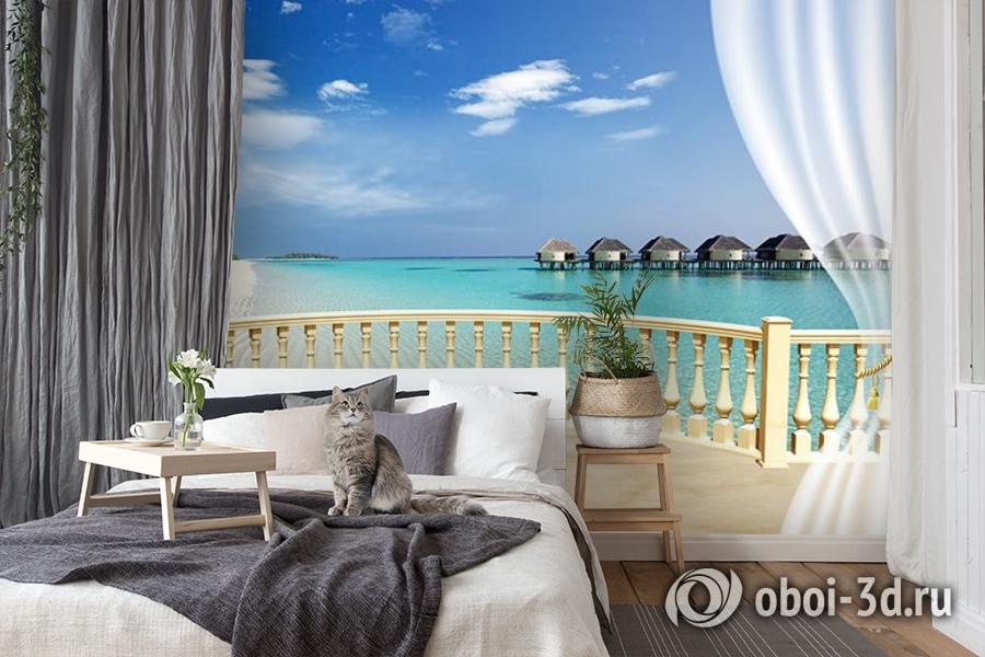 3D Фотообои  «С видом на террасу Мальдивы»  вид 7