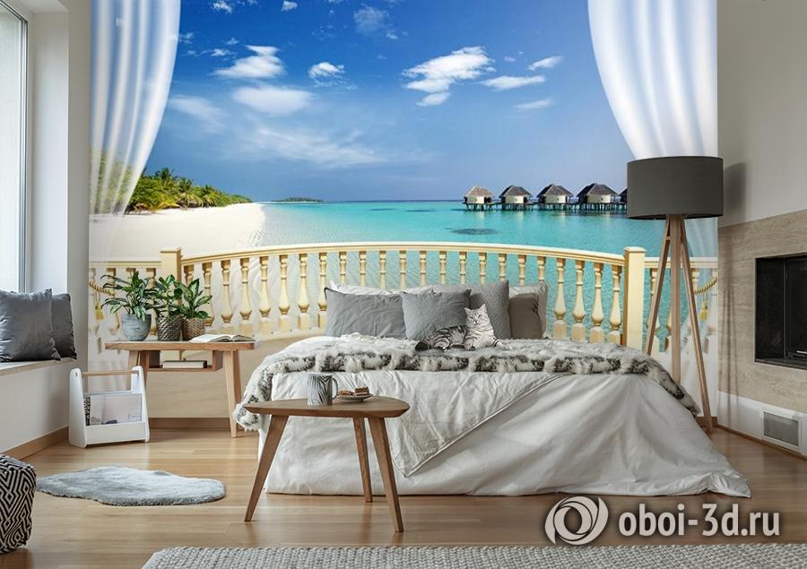 3D Фотообои  «С видом на террасу Мальдивы»  вид 6