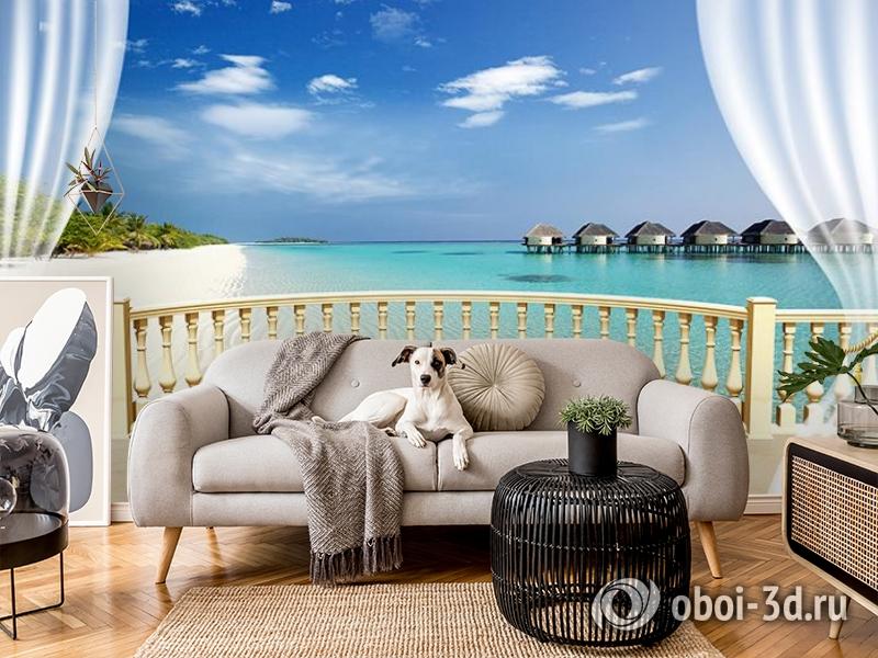 3D Фотообои  «С видом на террасу Мальдивы»  вид 5