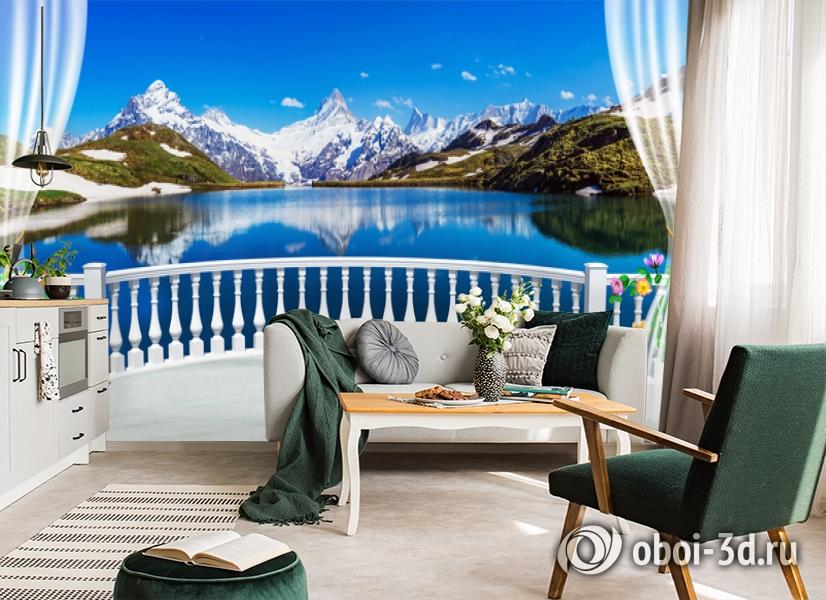 3D Фотообои  «Вид с балкона террасы на горы»  вид 4