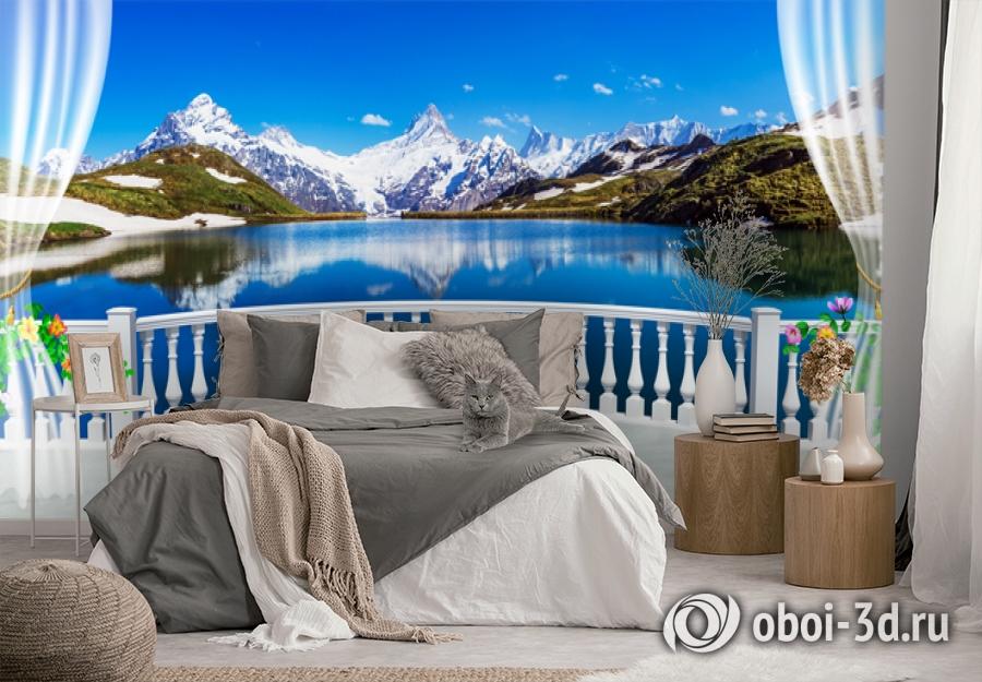3D Фотообои  «Вид с балкона террасы на горы»  вид 3