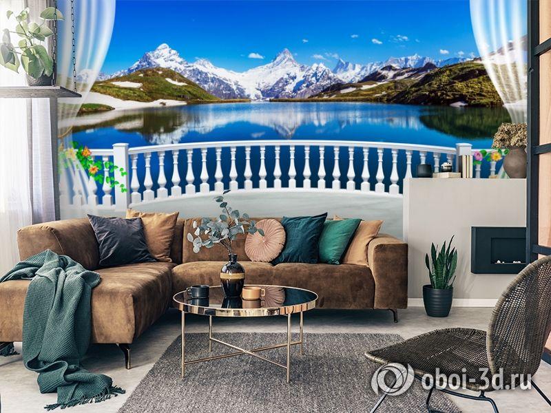 3D Фотообои  «Вид с балкона террасы на горы»  вид 2
