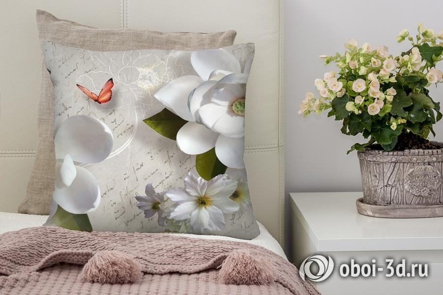 3D фотообои 3D Подушка «Белые цветы» вид 1