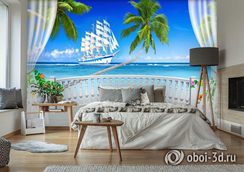 "3D Фотообои  ""Терраса с видом на море и пляж""  вид 6"