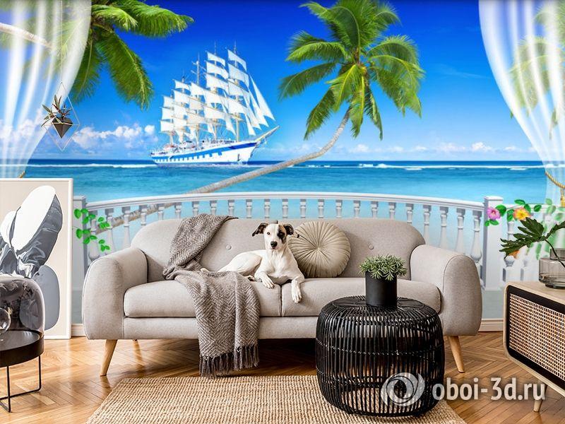 "3D Фотообои  ""Терраса с видом на море и пляж""  вид 5"