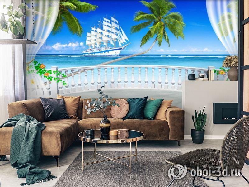 "3D Фотообои  ""Терраса с видом на море и пляж""  вид 2"