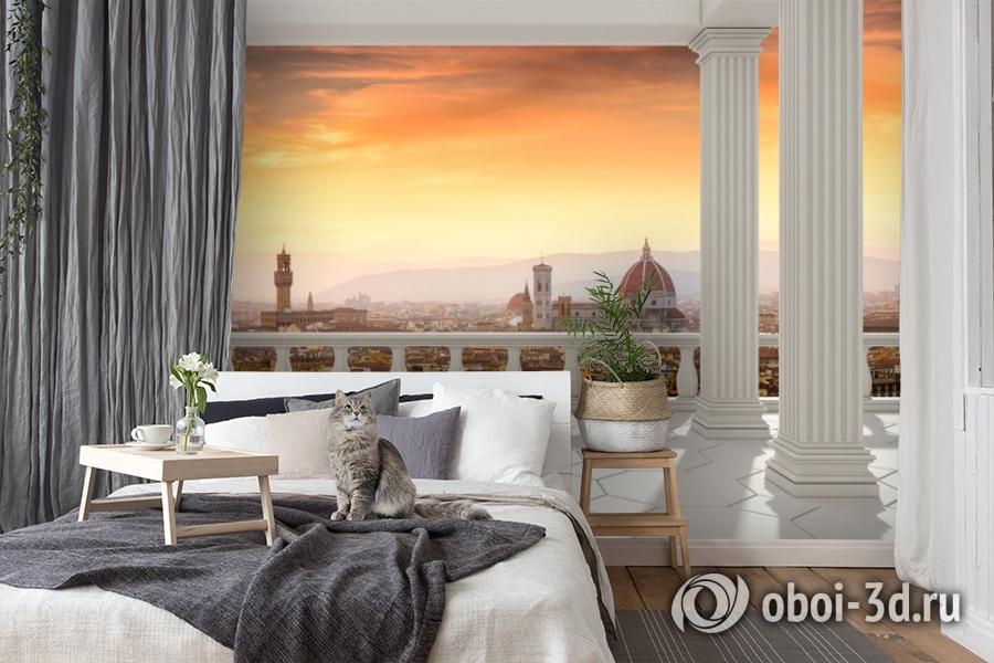 3D Фотообои  «Балкон с колоннами вид на Ватикан»  вид 7