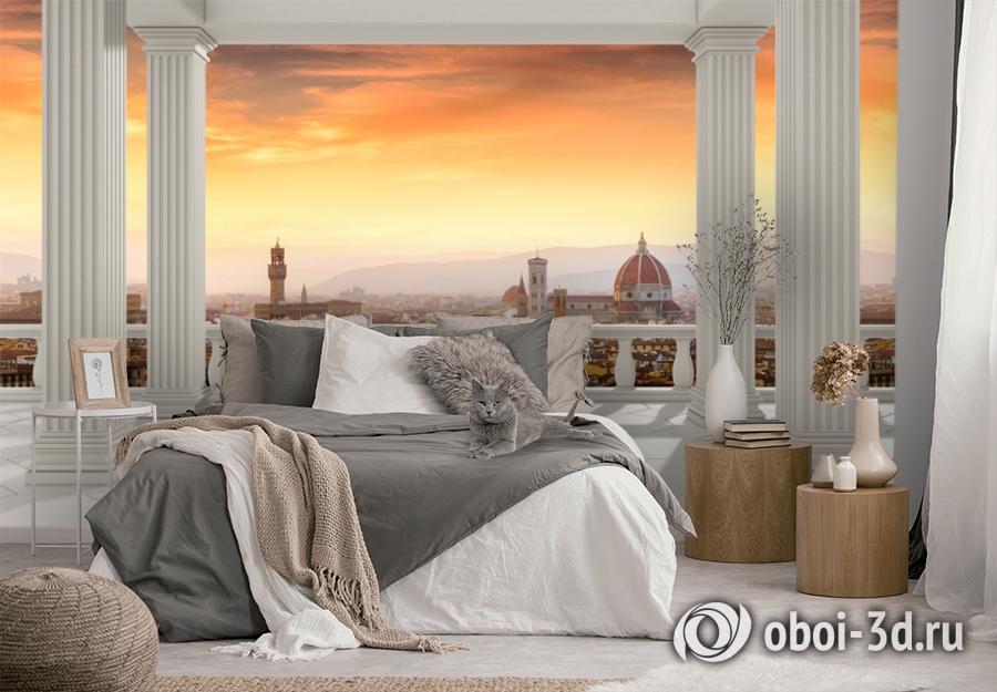 3D Фотообои  «Балкон с колоннами вид на Ватикан»  вид 3
