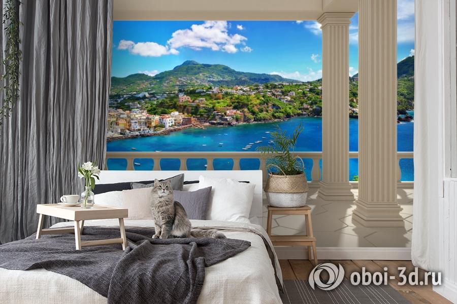 3D Фотообои  «Балкон с колоннами средиземноморский пейзаж»  вид 7
