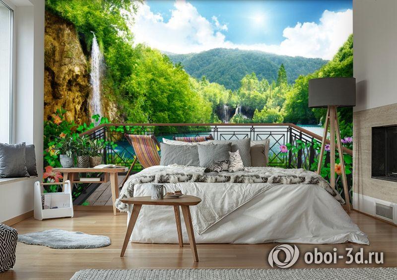 3D Фотообои  «Балкон в долине водопадов»  вид 6