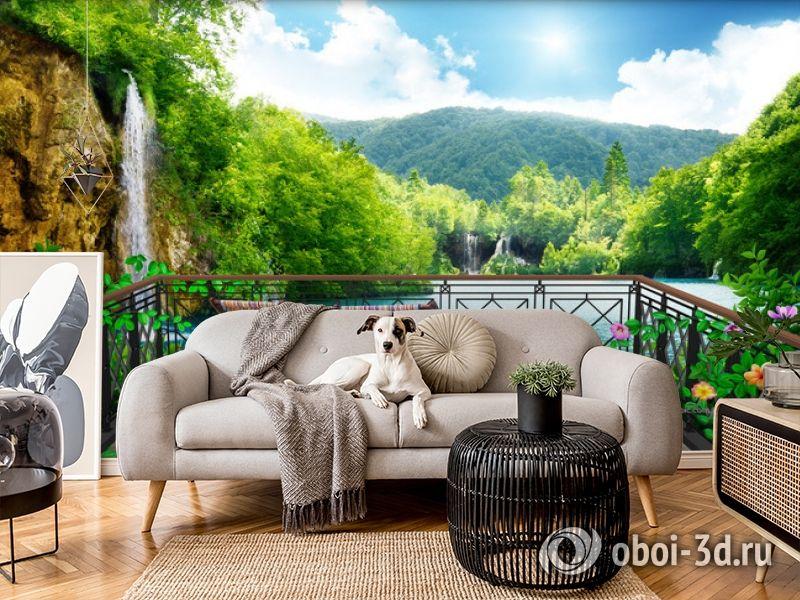 3D Фотообои  «Балкон в долине водопадов»  вид 5
