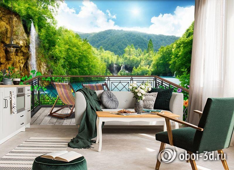 3D Фотообои  «Балкон в долине водопадов»  вид 4