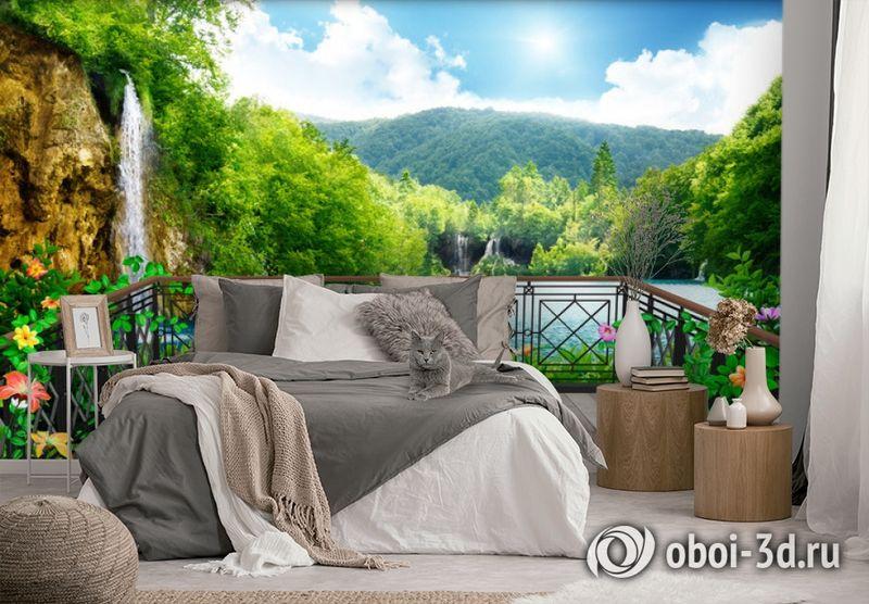 3D Фотообои  «Балкон в долине водопадов»  вид 3