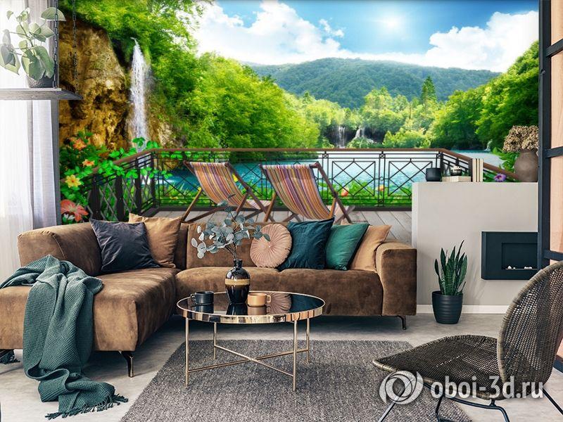3D Фотообои  «Балкон в долине водопадов»  вид 2
