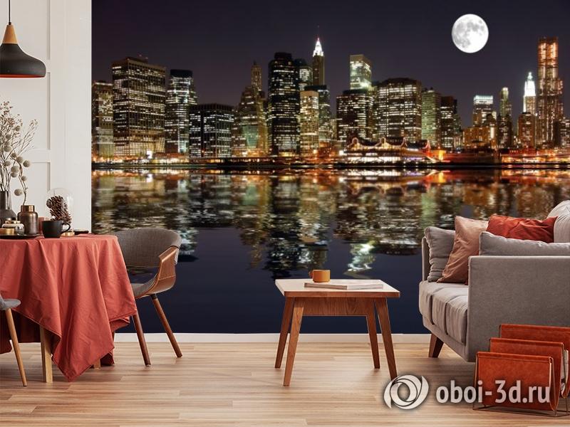 3D Фотообои  «Луна над ночным городом»  вид 10