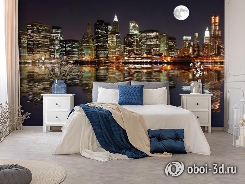 3D Фотообои  «Луна над ночным городом»  вид 8