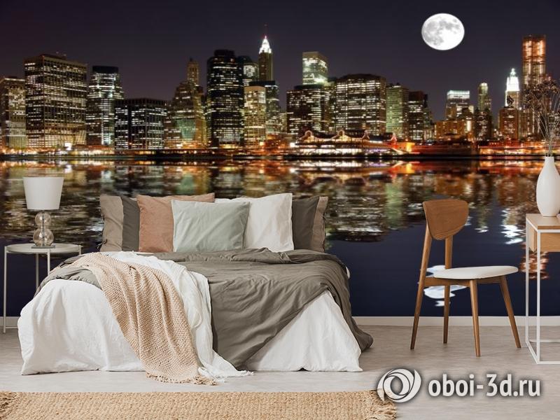 3D Фотообои  «Луна над ночным городом»  вид 6