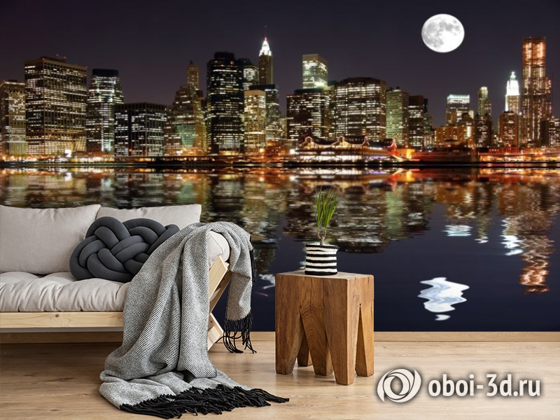 3D Фотообои  «Луна над ночным городом»  вид 5