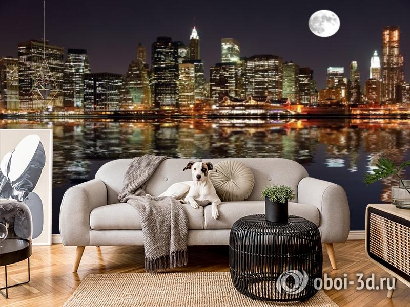 3D Фотообои  «Луна над ночным городом»  вид 4