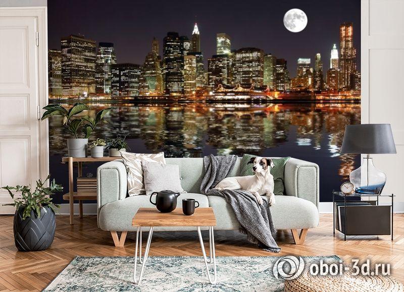 3D Фотообои  «Луна над ночным городом»  вид 3