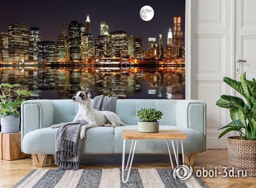 3D Фотообои  «Луна над ночным городом»  вид 2