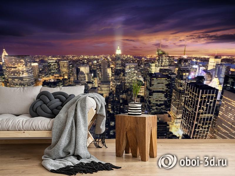3D Фотообои  «Ночной Манхэттен»  вид 5