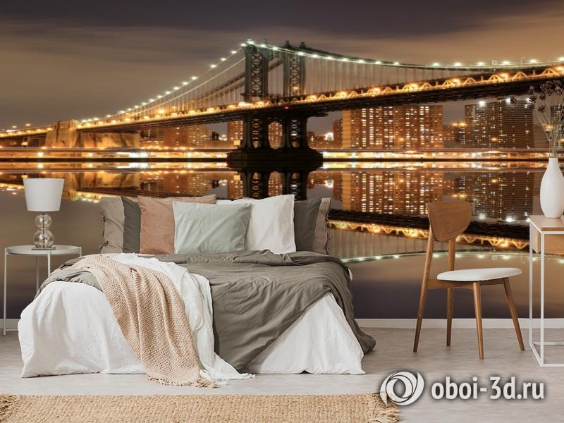 3D Фотообои  «Бруклинский мост: отражение в реке Гудзон»  вид 6