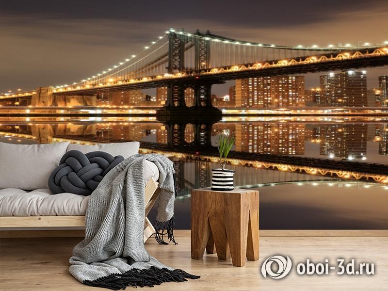 3D Фотообои  «Бруклинский мост: отражение в реке Гудзон»  вид 5