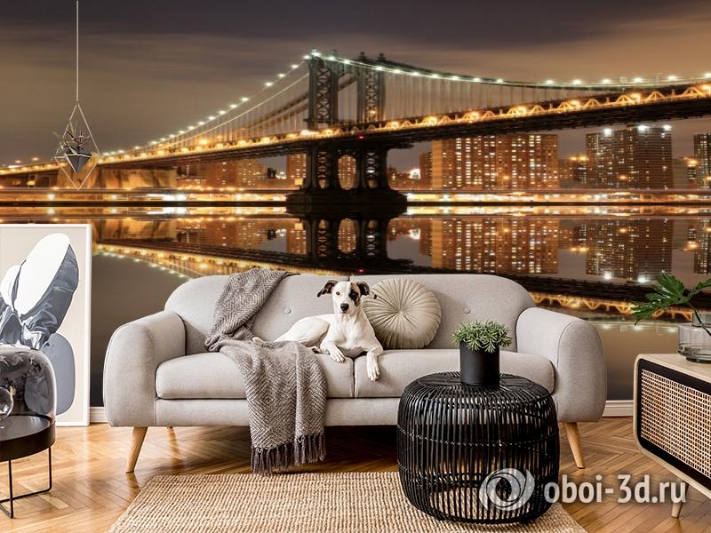 3D Фотообои  «Бруклинский мост: отражение в реке Гудзон»  вид 4