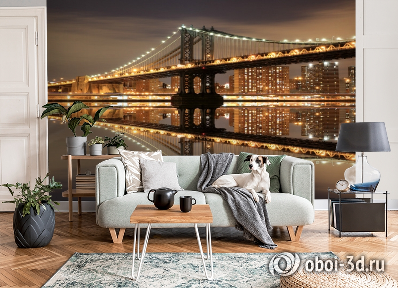 3D Фотообои  «Бруклинский мост: отражение в реке Гудзон»  вид 3