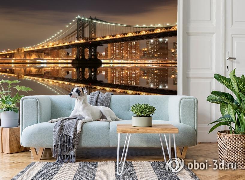 3D Фотообои  «Бруклинский мост: отражение в реке Гудзон»  вид 2