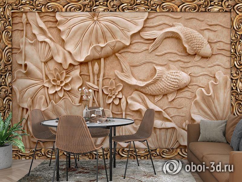 3D Фотообои  «Резьба по дереву в китайском стиле»  вид 3