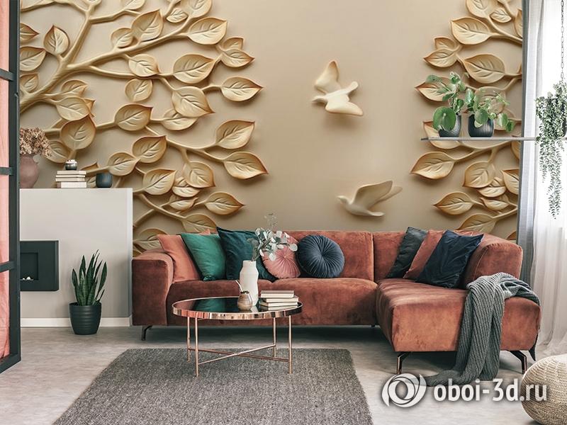 3D Фотообои  «Трехмерный рельеф с голубями и кронами деревьев»  вид 4