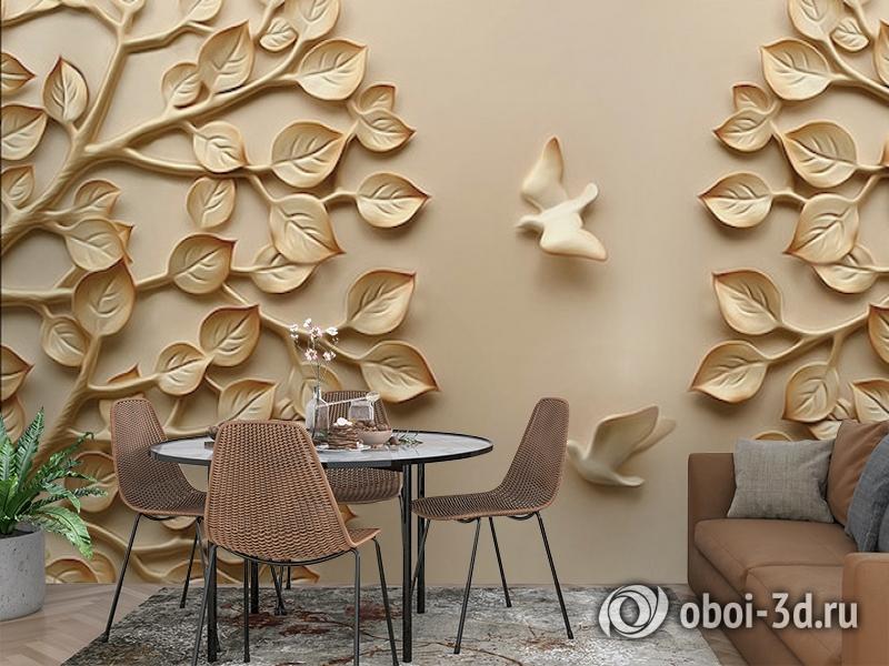 3D Фотообои  «Трехмерный рельеф с голубями и кронами деревьев»  вид 3