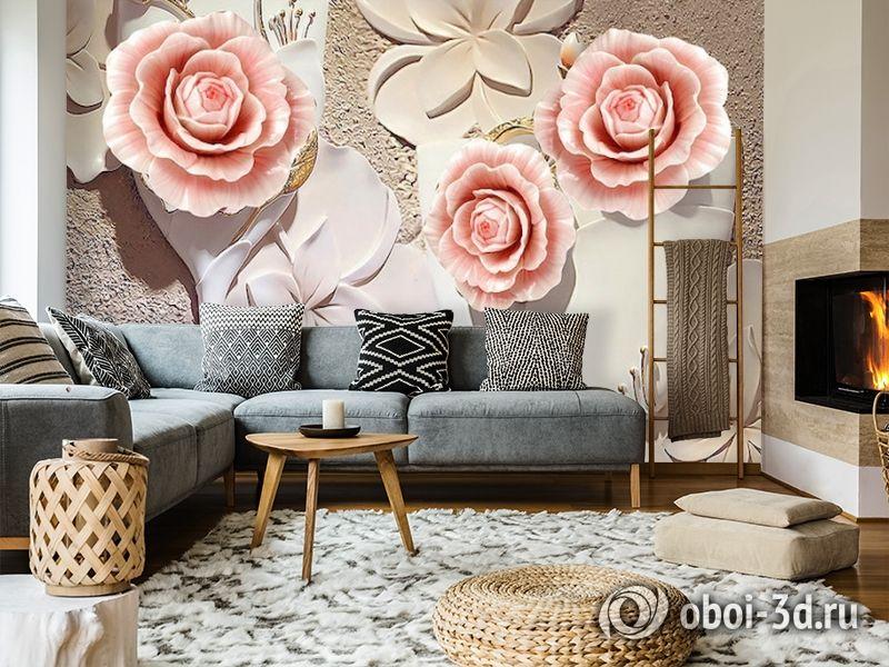 3D Фотообои  «Объемная композиция с бутонами роз»  вид 7