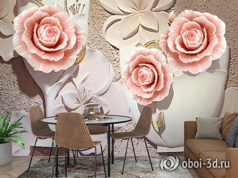 3D Фотообои  «Объемная композиция с бутонами роз»  вид 3