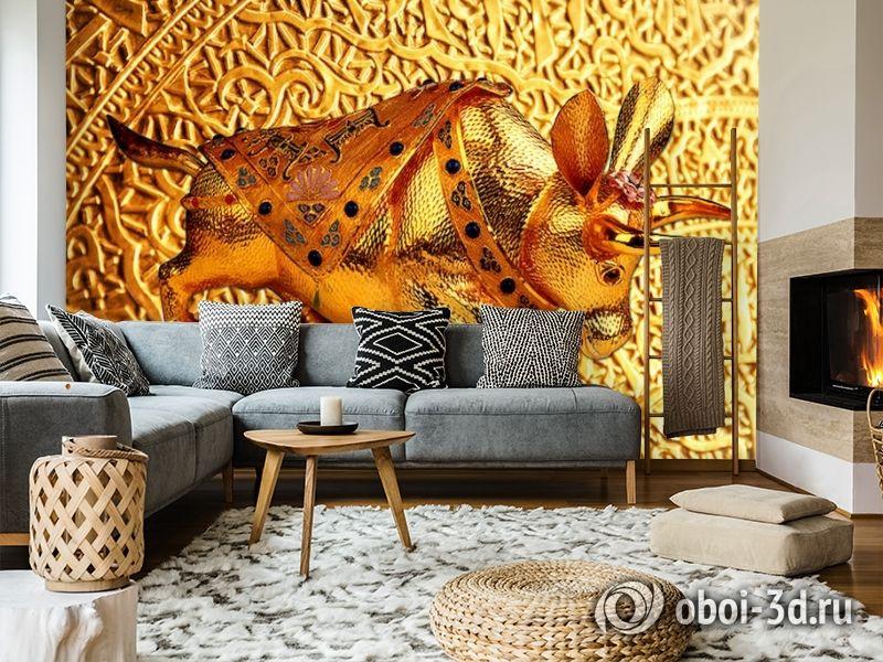3D Фотообои  «Декорация с золотым быком в испанском стиле»  вид 7