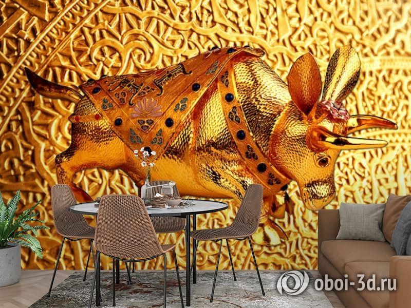 3D Фотообои  «Декорация с золотым быком в испанском стиле»  вид 3